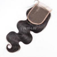 "4""x4"" #1 Body wave Virgin Hair Tied Free Parted Remy Silk base Lace Closure #1B Natural Black"