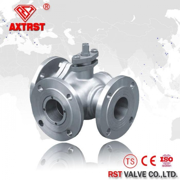 Stainless Steel Floating Flanged Three Way Ball Valve T