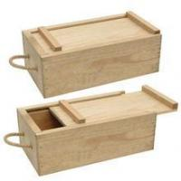 Buy cheap Unfinished wooden wine single bottle box with sliding lid from wholesalers
