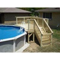 China Above Ground Pool Ladders: Wood Above Ground Pool Ladders With Small Deck on sale