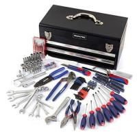 China WORKPRO W009028A 229-Piece Mechanic Tool Kit w/ Two Drawer Metal Box, Basic Daily Use Tool Set on sale