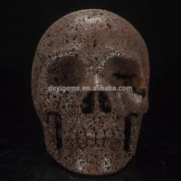 Cheap Beautiful 5 Inch Natural Red Lava Rock Stone Carving Skull for sale