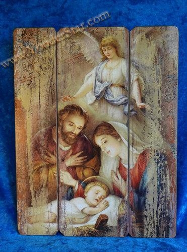 Quality Nativity Scenes Holy Family Nativity Scene Wooden Wall Plaque wholesale