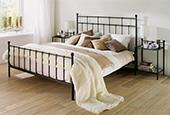 China Wholesale Open-Frame Metal Platform Bed with Headboard Slats Brushed Bronze Full Size on sale