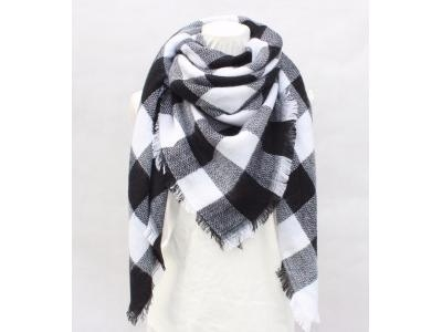 China Women winter Oversized square checked factory plaid tartan blanket scarf