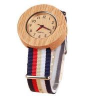 Buy cheap Black Leather Strap Custom Design Carbonized Bamboo Watch from wholesalers