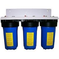 Cheap Pre Built High Flow Water Filter Housings 10Inch x 4Inch TRIPLE  1Inch Connection  BLUE for sale