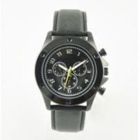 Buy cheap 10ATM Water Resistant Leather Strap Stainless Steel Black Watch from wholesalers
