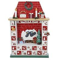 Cheap Kurt Adler Wooden Chimney Christmas Advent Calendar with Ornaments, 15-Inch for sale