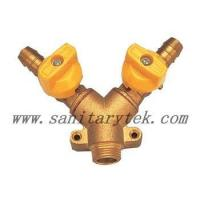 Buy cheap Code: V25-006 Double gas ball valve male connection with hose attachment,plastic handle from wholesalers