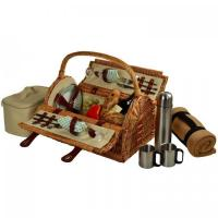 Cheap Picnic at Ascot Sussex Willow Picnic Basket with Service for 2, Coffee Set and Blanket - Gazebo for sale