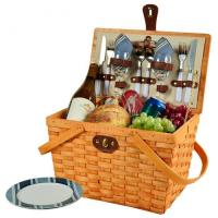 Cheap Picnic at Ascot Frisco Traditional American Style Picnic Basket with Service for 2 - Blue Stripe for sale