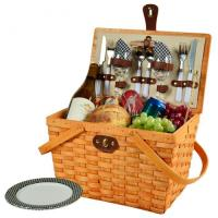 Cheap Picnic at Ascot Frisco Traditional American Style Picnic Basket with Service for 2 - Black Gingham for sale