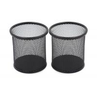 China EasyPAG 2 Pcs 3.5 inch Round Steel Mesh Cup Desk Pen Pencil Holder on sale