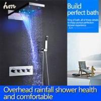Cheap Top led shower set with 22 inch waterfall shower head wall thermostatic valve for sale