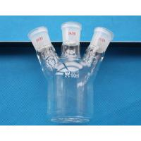 China Glass Woulff flask cylindrical flat bottom reaction bottle vessel with 3 neck ST joint on sale