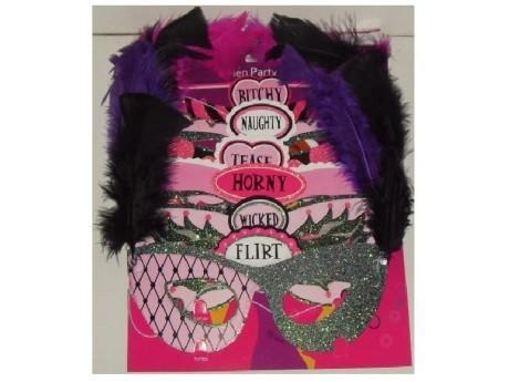 China 6 PK FEATHERED HEN PARTY MASK