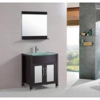 China Tempered Glass Top 30-inch Single Sink Bathroom Vanity with Mirror and Faucet on sale