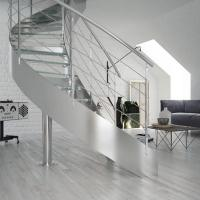Cheap Apartment Stainless Steel Balustrade Laminated Glass Steps Curved Staircase PR-C26 for sale