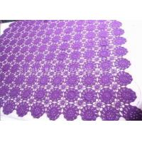 China Floral Purple Crochet Table Cover / Hollow Out Vintage Crochet Table Runner on sale