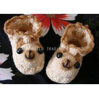 Cheap Bear Shape Crochet Baby Shoes Brown Binding Winter Knitted Baby Booties for sale