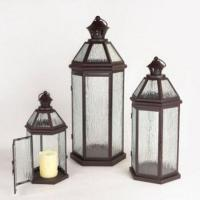 Cheap Candle Lanterns Modern Chic Brown Pillar Candle Lanterns with Textured Lava Glass for sale