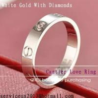 Cheap Faux Cartier Love Wedding Ring 18K White Gold With Diamonds for sale
