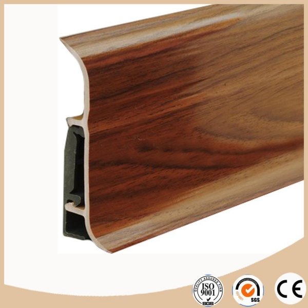 Quality WPC Vinyl Flooring Soft formed pvc skirting board / baseboard molding wholesale