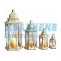 Cheap Cream clear glass & metal pillar candle hanging lantern for sale
