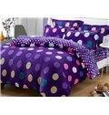China Warm Flanel Purple Polka Dots Pattern Kids Duvet Cover Set on sale