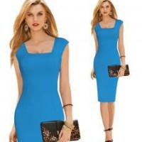 Buy cheap Fashion Women Square Neck Slim-fit Bodycon Tunic OL Dress from wholesalers