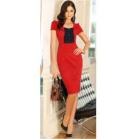 Buy cheap Fashion Women's Short Sleeve Color Contrast OL Sheath Dress from wholesalers