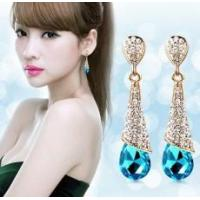 Buy cheap Fashion Gloden Plated Crystals Water Drop Stud Earring Set from wholesalers