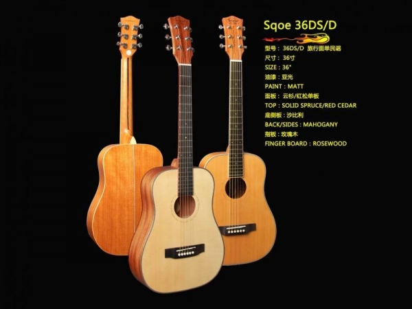 sqoe acoustic guitar model 36ds d with certificate of wood. Black Bedroom Furniture Sets. Home Design Ideas