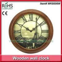 Cheap 2015 Woodpecker 20inch round 3D dial wood quartz wall clock for sale