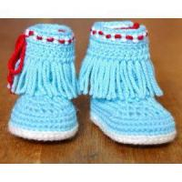 Cheap CROCHET PATTERN Native American Moccasin Fringe Booties in 3 Sizes Photo Tutorial Easy Baby Shoes for sale