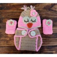 Cheap Crochet BrownPink Owl Infant Set Hat Diaper Cover Leg Warmers for sale