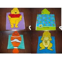 China 100% Cotton velour reactive printed hooded towel poncho on sale