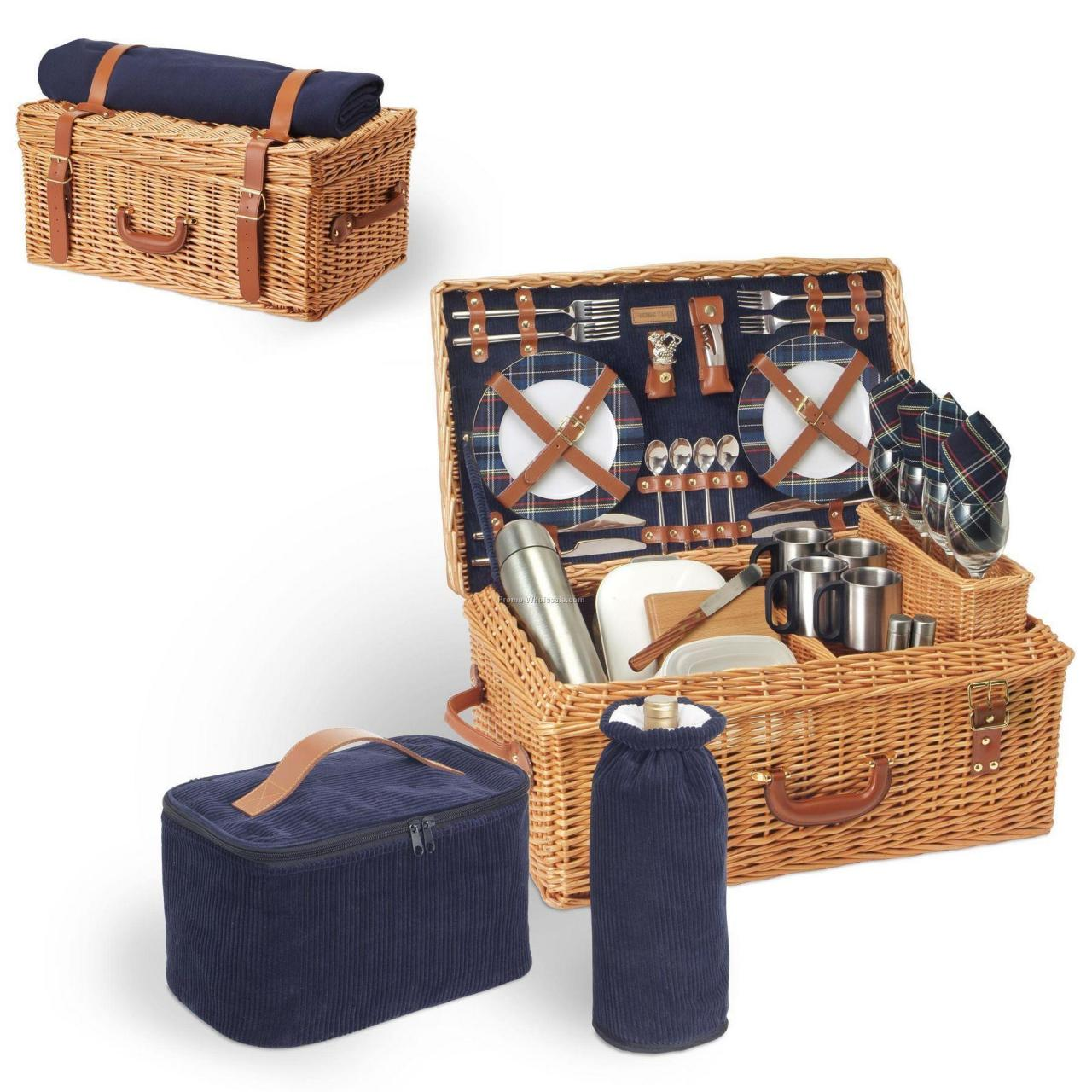 Cheap Windsor English Style Suitcase Picnic Basket With Service For 4 for sale