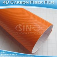 Super Glossy Orange 4D Carbon Fiber Stickers