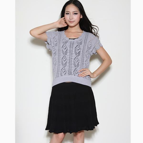 China Ladies jaquard sweater with hand crochet Y12102