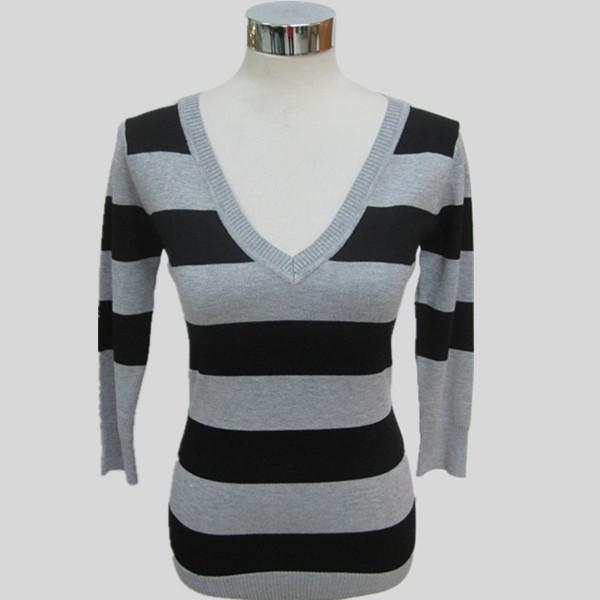 China Women fashion knitted striped long sleeves sweater Y197