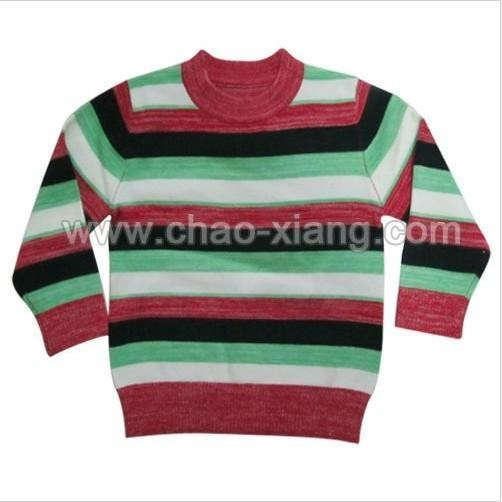 China Kids round neck striped pullover sweater (CXK12010)