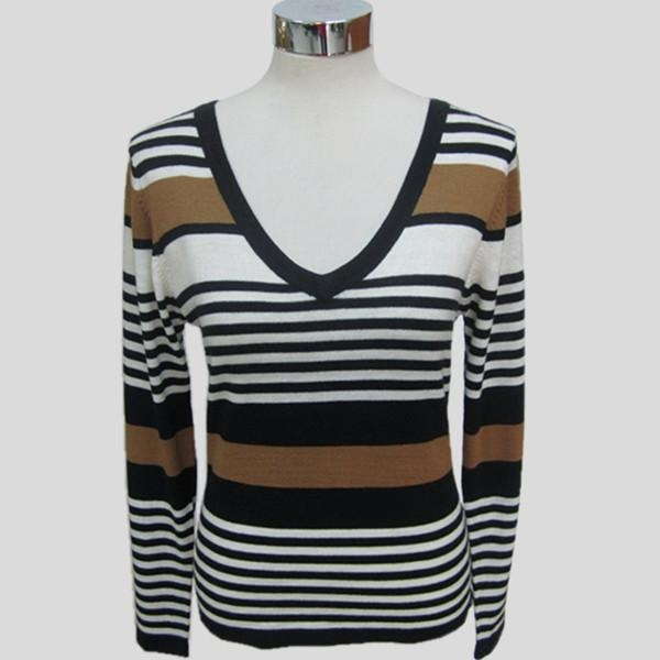 China Fashion knitted long sleeves striped sweater for women Y192
