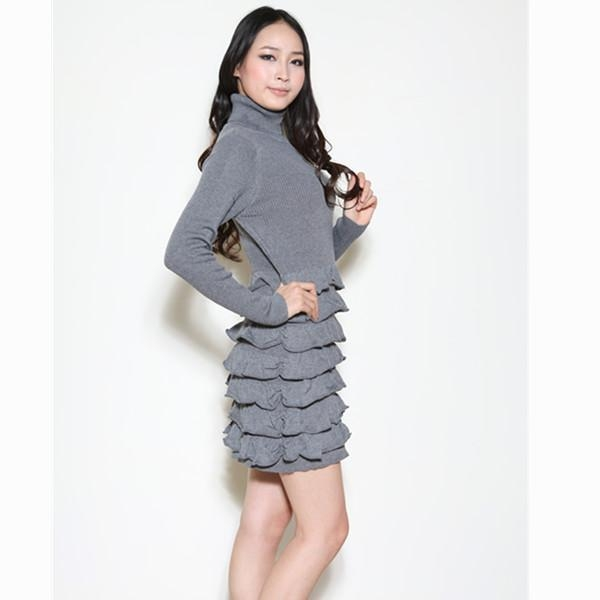 China Women knitted turtle neck dress Y12103