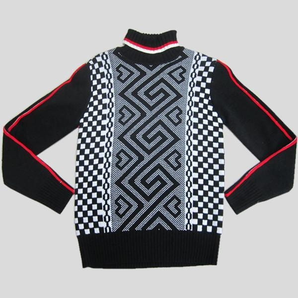 China Knitted mens sweater with jacquard pattern Y212
