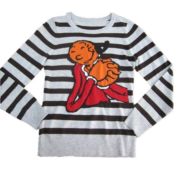 China Striped sweater with jacquard for children Y158