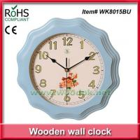 Cheap WK8015BU28.5cm Promotional blue color timber quartz wall clock painting for sale