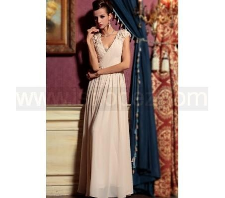 Quality Deep V-neck off shoulder apricot lace long homecoming bridesmaid dress wholesale