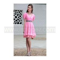 Cheap Drape Shoulder V Neck pink short prom dress for sale